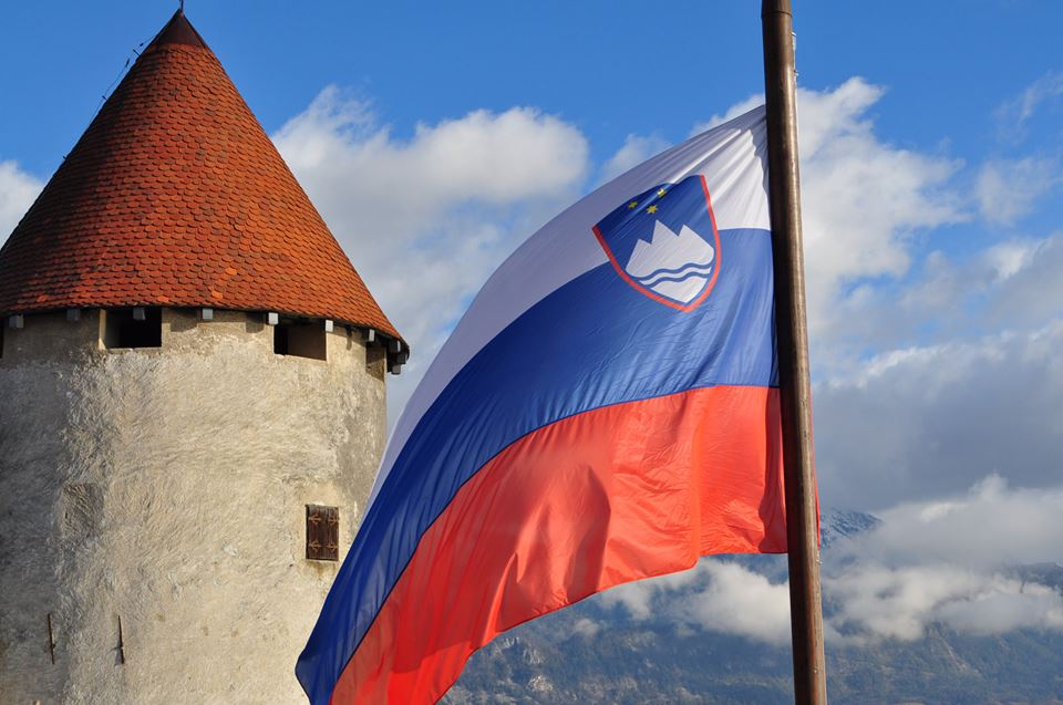 Slovenian Flag flying from Bled Castle