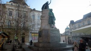 The poet's statue Prešernov trg