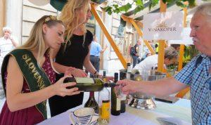 Wine tasting in Ljubljana during Primorska wine event.