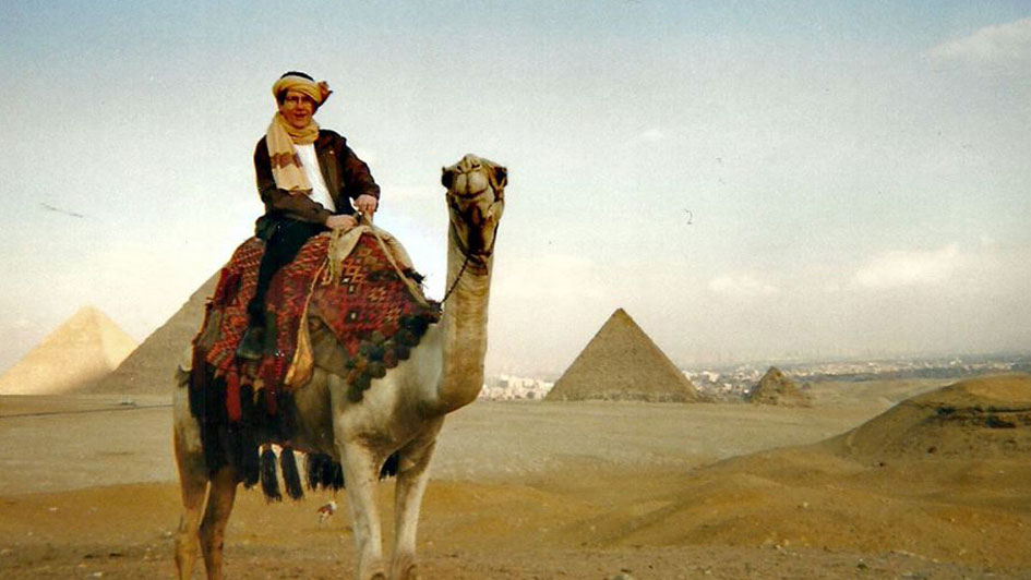 davy sims on a camel